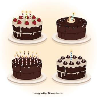 Czekoladowe ciastka urodziny kolekcji
