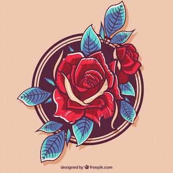 Czerwona róża w tle