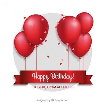 Czerwone balony birthday card