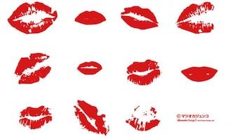 Czerwone usta. pocałunki.