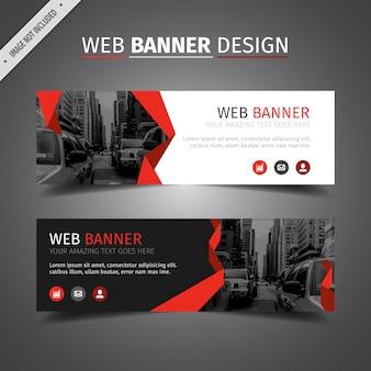 Czerwony projekt baneru internetowego
