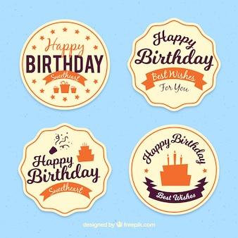 Cztery naklejki retro urodziny