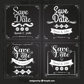 Cztery wesela karty dla zapisać datę, kwadratowe kształty