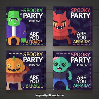 Cztery zaproszenia halloween