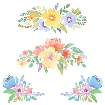 Dekoracje kwiatowe akwarela do projektowania kart i zaproszenia