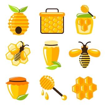 Dekoracyjne pszczoły miód i komórki żywności rolnictwa ikony zestaw izolowane ilustracji wektorowych.