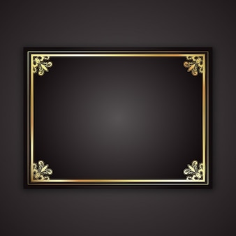 Dekoracyjne ramki złota na czarnym tle gradientu