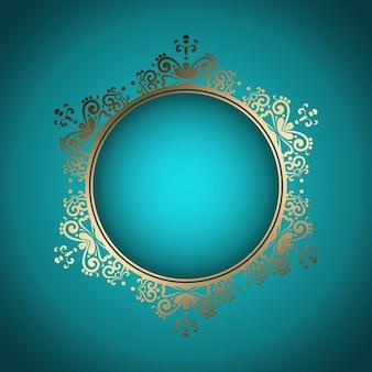 Dekoracyjne stylowe tło z ramką złotą
