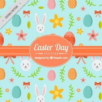 Dekoracyjny wzór z jaj i słodkie królików na wielkanoc dzień