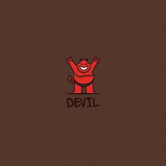 Diabeł logo na brązowym tle