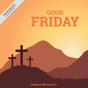Dobre krzyże piątek i krajobraz w tle