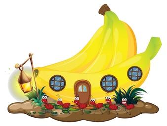 Dom bananów z mrówkami czerwonymi maszerujących na zewnątrz