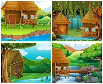 Domy drewniane w lesie