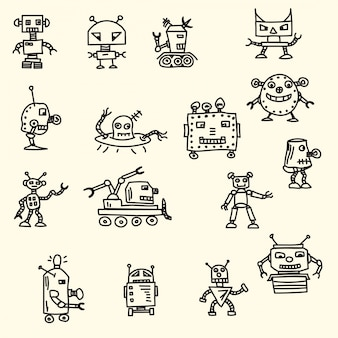Doodle handrawn robots ilustracji wektorowych