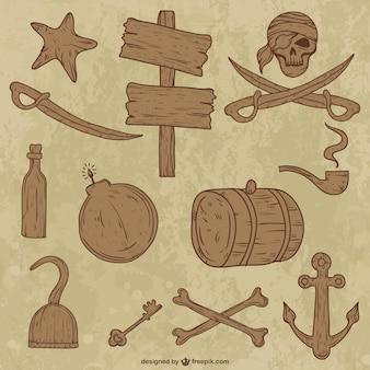 Drewniana kolekcja obiektów piratów