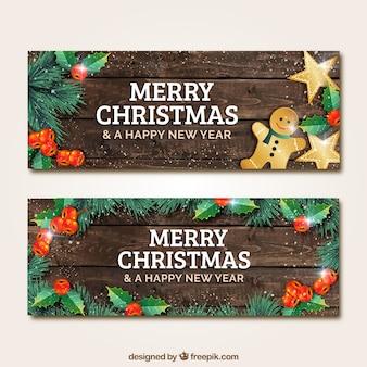 Drewniane banery Boże Narodzenie