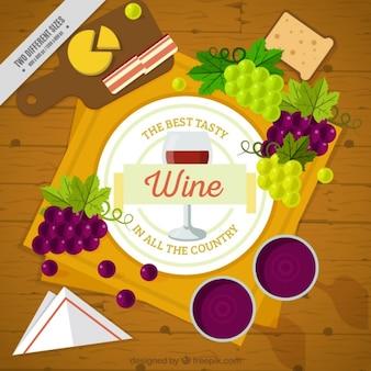 Drewniany stół tło z wina i winogron