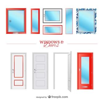 Drzwi i okna, elementy wektorowe