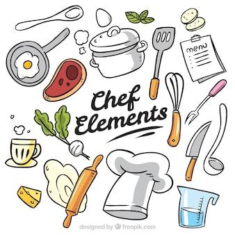 Duża kolekcja ręcznie rysowanych przedmiotów kucharzy