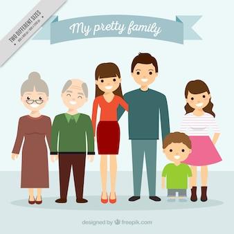 Duża rodzina zjednoczona tle
