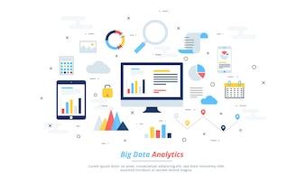 Duże dane, alogorytmy maszynowe, koncepcja analityki bezpieczeń stwo i koncepcja bezpieczeń stwa. Tło fin-tech (technologia finansowa). Kolorowe płaskie ilustracji stylu.