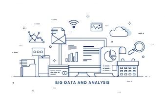 Duże dane, alogorytmy maszynowe, koncepcja analityki bezpieczeń stwo i koncepcja bezpieczeń stwa. Tło fin-tech (technologia finansowa). płaski styl ilustracji.