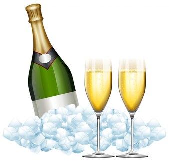 Dwie lampki szampana i butelki w ilustracji lodu