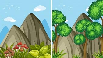 Dwie sceny górskie w ciągu dnia