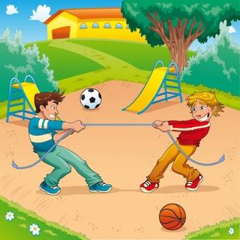 Dwoje dzieci bawiące się w parku