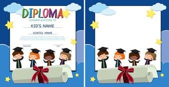 Dyplom i szablon granicy z szczęśliwymi dziećmi w sukni ukojenia