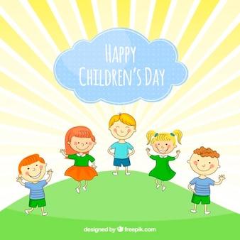 Dzień ilustracja śmieszne dzieci