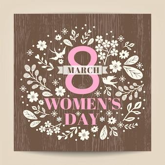 Dzień Kobiet pozdrowienia z kwiatów ilustracji na tle tekstury drewna