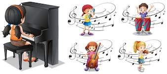 Dzieci bawiące się różnymi instrumentami muzycznymi