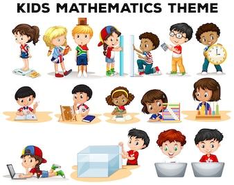 Dzieci rozwiązywania problemów matematyki ilustracji