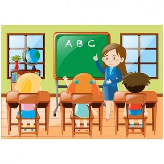 Dzieci w klasie tle