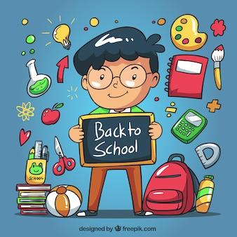 Dziecko w tle z tablicy i ręcznie rysowane elementy szkoły