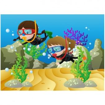 Dziewcząt uprawiających nurkowanie