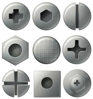 Dziewięć różnych wzorów na okrągły i kwadratowy gwoździe
