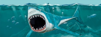 Dziki rekin ręcznie malowane ilustracji wektorowych