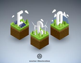Eco cubik minimalna koncepcja izometryczna eps 10