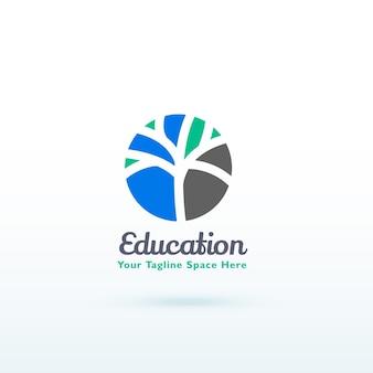 Edukacji lub koncepcji logo umiejętności z kreatywnym projektem drzewa