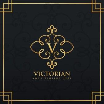 Elegancki kwiatowy premii stylu logo na literę V