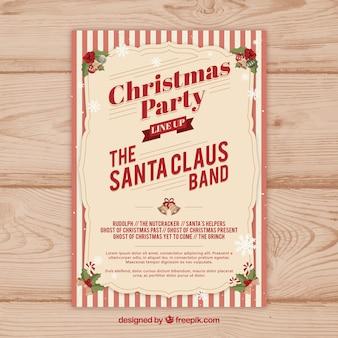 Elegancki retro christmas party plakatu
