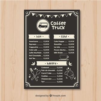 Elegancki szablon menu wózka do kawy