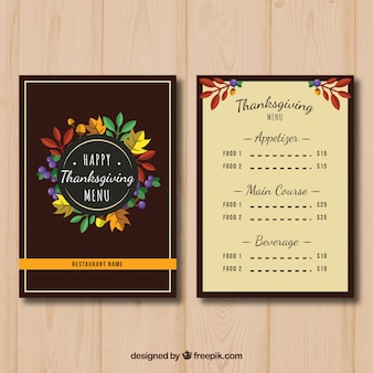 Eleganckie menu dziękczynienia z liśćmi szczegółów