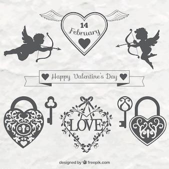Eleganckie Valentine dzień dekoracyjne ornamenty