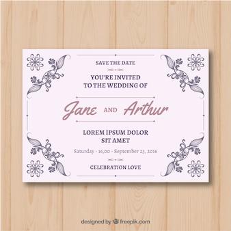 Eleganckie zaproszenie na ślub z rocznika stylu