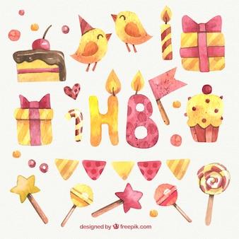 Elementy Śliczne akwarela urodziny
