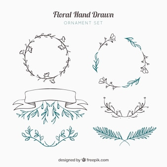 Elementy dekoracyjne ręcznie rysowane