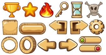 Elementy gry ze strzałkami i symbolami